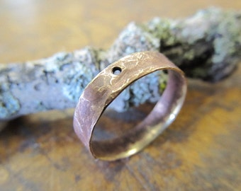 Rustic Industrial Hammered Brass Ring