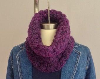 Purple wool cowl