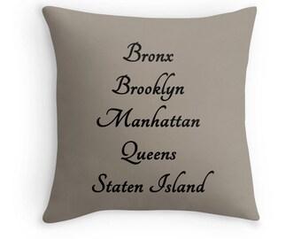 NYC Pillow, Five Boroughs Pillow, Brooklyn Pillow, Manhattan Pillow, Bronx Pillow, Staten Island Pillow, Queens Pillow, New York City Pillow