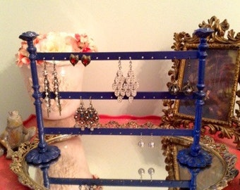 French Style Earring Holder in French Blue and Pink