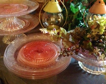 Depression Glass Cake Stand & Dinner Plates Pink