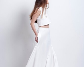 Wedding crop dress with golden trimming at back, Maxi skirt with crop top, Bride maxi pocket dress, Engagement dress , Wedding dress.
