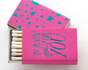 BURNIN FOR YOU Matchboxes - Wedding Favors, Wedding Matches, Wedding Decor, Matchbox Art, Wedding Matchboxes, Match Box Favors, Party Favors