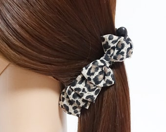 Chiffon Leopard Animal Print Bow Banana Hair Clip Free Shipping Women Hair Accessory