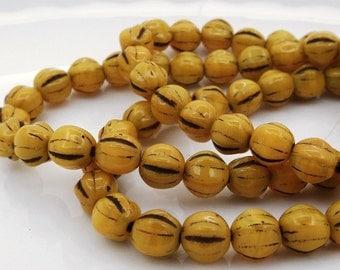 6MM Czech Melon Beads (25) Mustard Melon Czech Glass Beads (CZ10)
