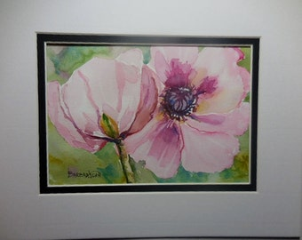 Watercolor flower, Original watercolor, Pink flowers