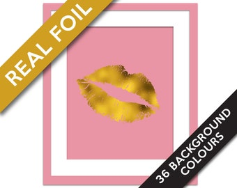 Lips Print - Gold Foil Print - Gold Kiss Print - Lipstick Art Print - High Fashion Art - Gold Lips Print - Lips Wall Art - Valentine Print