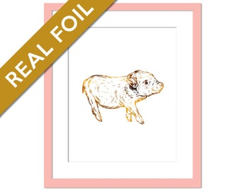 Piglet Art Print - Gold Foil Print - Animal Print - Childrens Art - Farm Animal Art Print - Nature Poster - Pig Poster - Gold Nursery Art