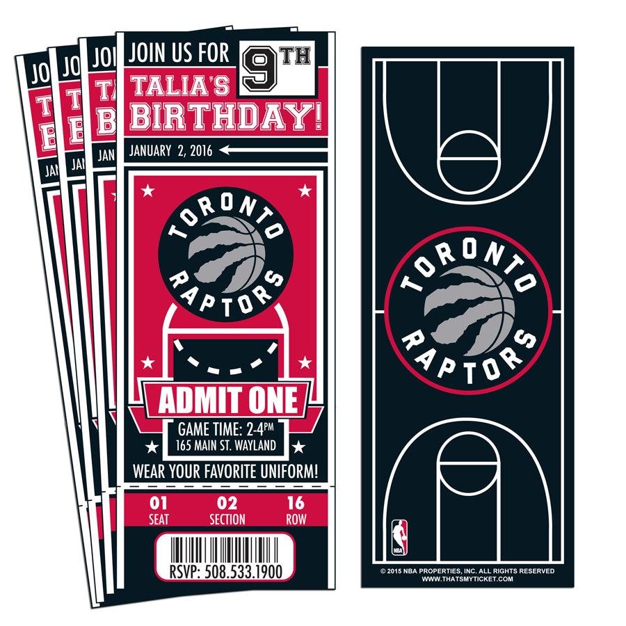 12 Toronto Raptors Custom Birthday Party Ticket Invitations