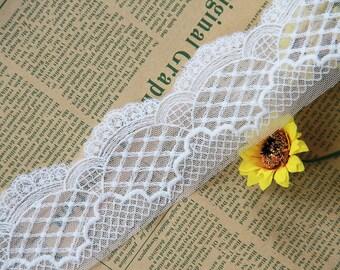 2 yards width 2'' ivory wedding lace trim, bridal lace trim,Floral lace trim for DIY Dress,Flowers lace(63-24)