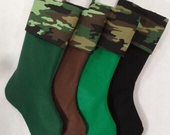 Camouflage Christmas Stocking camo Hedgehog Vogue felt 8.5x20'' Pinkismart dark green brown black eco friendly felt