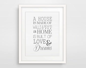 New Home Gift / A House Is Made Of Walls And Beams - A Home Is Built Of Love And Dreams / House Warming Gift / Home Quote / House Wall Art