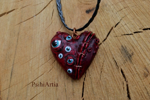 Polymer clay pendant Halloween necklace Halloween jewelry Spooky necklace Morbid necklace Morbid jewelry Heart pendant Bloody heart necklace