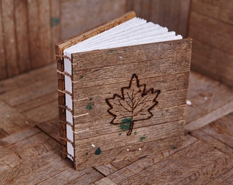 6x6 Barn Wood Tile Coptic Book with Burned Leaf Symbol, distressed edges, 112 blank pages
