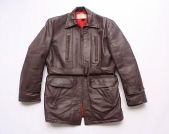 1950s Hercules Horse Hide Leather Motorcycle Jacket// Vintage Belted Car Coat// Sz M