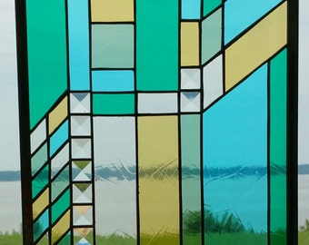 Stained Glass Prairie-Style Panel