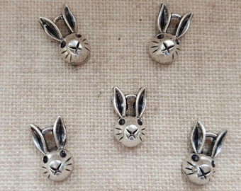 Bunny Face Charms X 5. Bunny Charms.  Playboy Charms. Rabbit Charms. Antique Silver Tone.  UK Seller