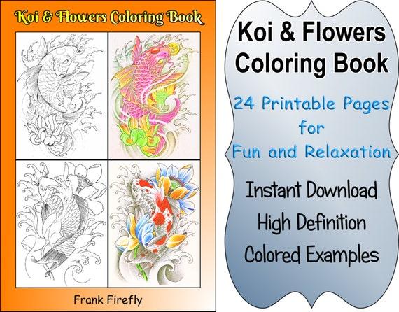 Koi Fish Coloring Book 24 Printable