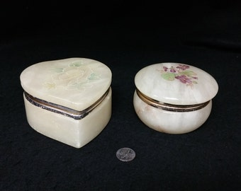 Alabaster Boxes - Two Trinket Boxes for Ring Box, Earring Box, Jewelry Box and so on.