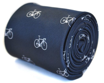 navy blue tie with bicycle design with signature floral design to the rear by Frederick Thomas FT2125