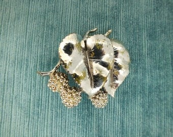 Signed Exquisite Double Leaf & Berries Brooch/Vintage Silver Tone Metal Brooch
