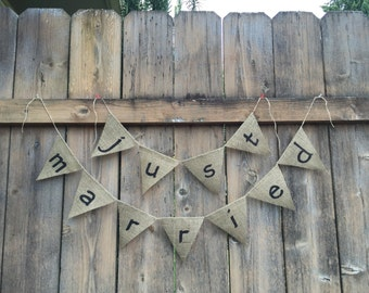 JUST MARRIED Burlap Banner - Customize!