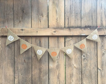 Halloween Pumpkins Burlap Banner (white and orange)