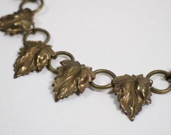 Vintage 1930s leaf and hoop necklace