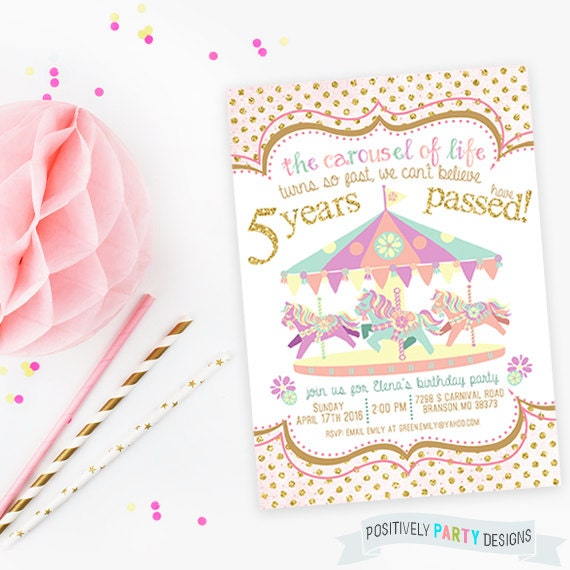 Carousel Birthday Invitation Pastel Invites By PositivelyParty