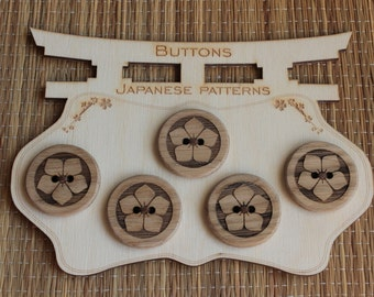 Wooden buttons with japanese pattern - 5 pieces