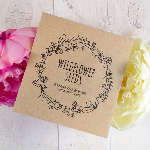 10x Personalised 'Floral' Wedding Favour Envelopes with Wildflower Seeds