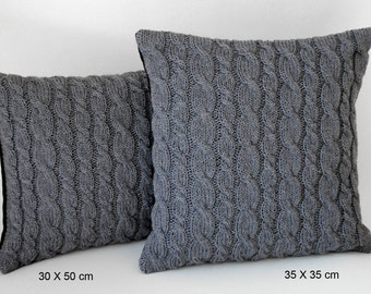 Cushion knit pillowcase hand knitted cable pattern grey wool back wool flannel 35X35cm 30X50cm