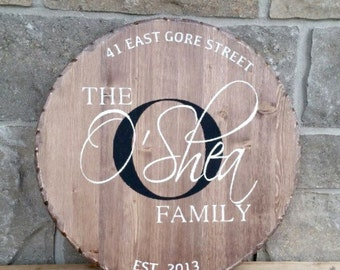 Round wood sign, monogram sign, family sign