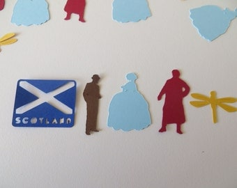 Outlander Inspired Confetti - Set of 130 - Handmade - Claire, Jamie Fraser, Scotland, Outlander Viewing Party, Book Club