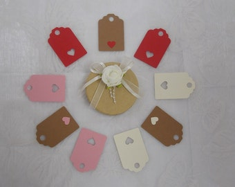 15 Small Valentine Gift Tags with various heart designs -100% recycled cardstock
