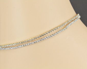"""silver or gold crystal anklet stretch ankle bracelet 8.25"""" stretchy crystal beads bead anklette"""