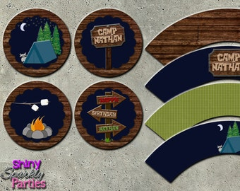 CAMPING PARTY DECOR - Camping Cupcake Toppers - Camping Birthday Decor - Camp Birthday - Party Circles - Camping Cupcake Wrappers - Decor
