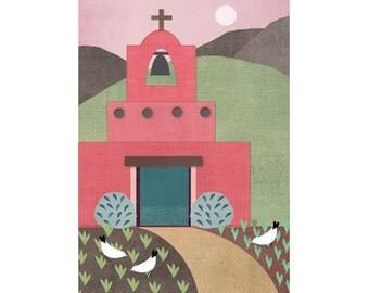 "Southwest Folk Art Style Landscape Giclee Print ""Old Mission"""