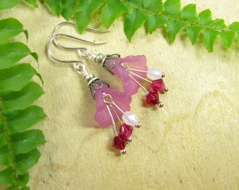 Orchid flowers earrings earrings silver plated, flowers flowers flower earrings Flower Earrings pink, exotic playful spring