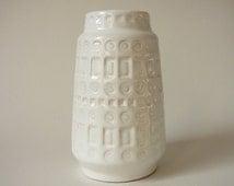 Scheurich Inka Vase 260-18 White Glaze WGP West German Pottery