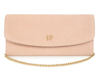 Leather Clutch, Leather Clutch Bag Purse, Beige Leather Clutch KF-529