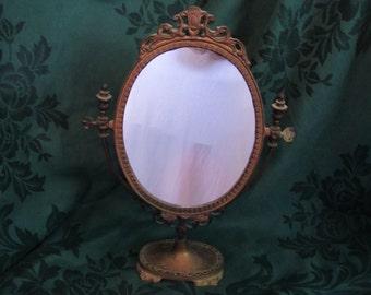Vintage Brass Dresser Vanity Mirror, Gothic Decor
