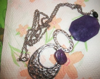 Chain necklace & Amethyst pendant
