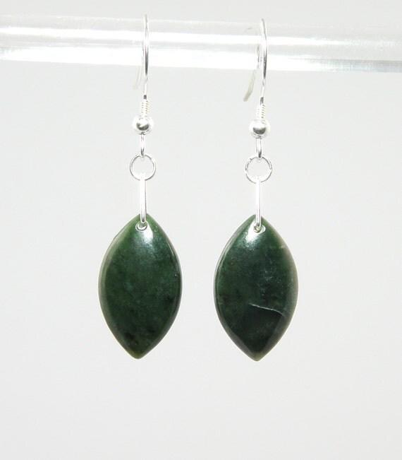 Marquise Green Sugar Nephrite Earrings