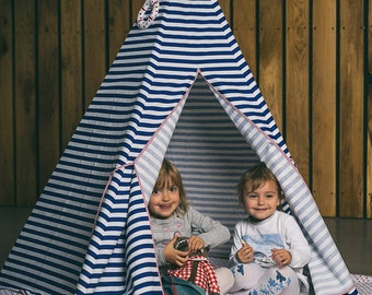 Teepee blue stripes