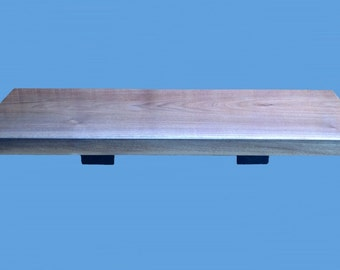 "walnut wood slab shelf with salvaged steel  brackets, 28"" long ,by 10"", by 1-3/8""--shelf 176"