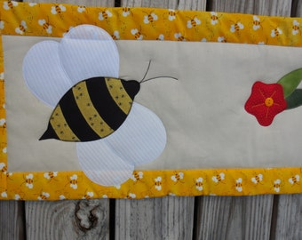 Handmade appliqued honeybee table runner