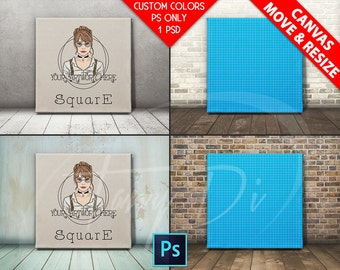 Square #F09 Realistic Movable 20x20 Stretched Canvas on Different Wooden floors, Print Display Mockups, PS users only, Custom colors, 30x30