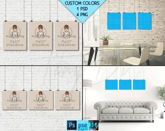 8x10 #WP05 Set of 3 Portrait Landscape Poster Mockups on Interior Wall, Black Binder Clips, 4 Unframed Print Display Mockups PNG PSD PSE