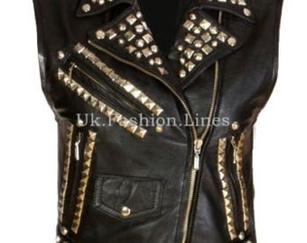 High Quality Fashion Real Cow Leather Stud Vest